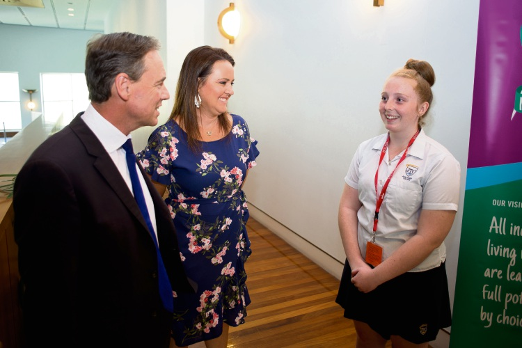 Taylah Shier (right) meets Health Minister Greg Hunt. Picture: David Howe