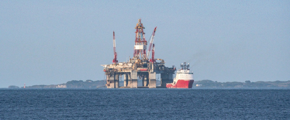 Ocean Monarch oil rig has been anchored off the Perth coast since November. Picture: DTM Productions