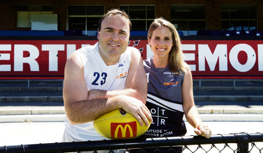 Former Fremantle Dockers player Paul Hasleby and Hockeyroo player Ashleigh Nelson. Picutre: Martin Kennealey.