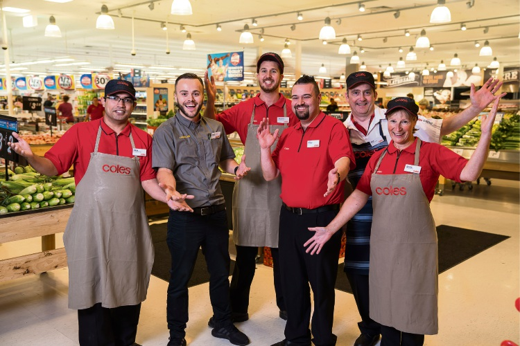 Coles Alkimos store manager Milan Nedeljkovic (third from right) with employees Kirat, Celyn, Stephen, Nick and Gerrie.