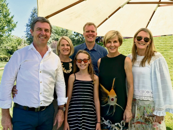 Sian Williams (front, centre) with guests including Foreign Affairs Minister Julie Bishop at the Prime Minister's barbecue.