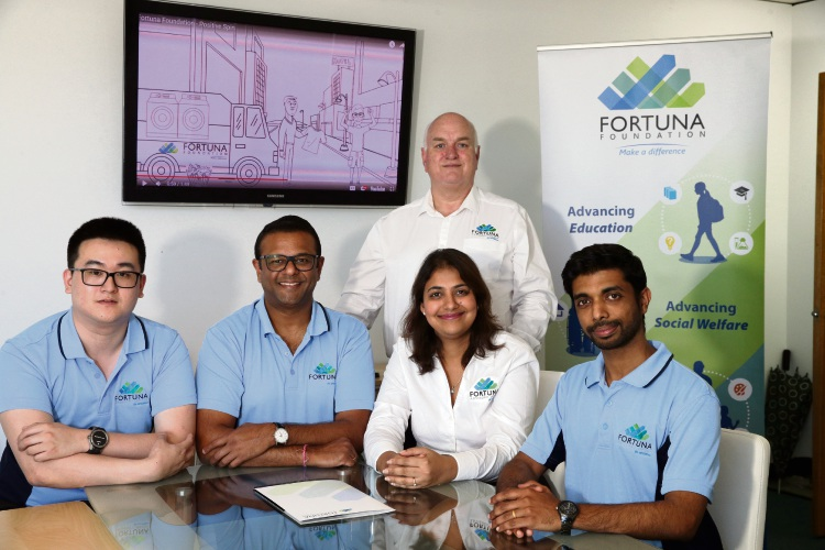 Jason Ip, Dinesh Aggarwal, Tony Smith, Mili Aggarwal and Melvyn Gilbert from Fortuna Foundation. Picture: Martin Kennealey.