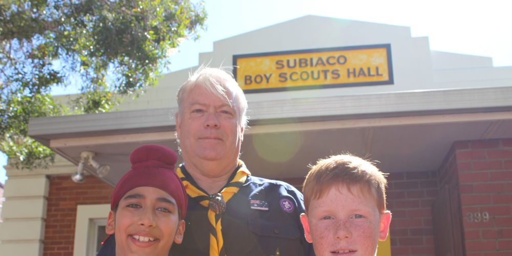1st Subiaco Scouts group leader Ramsay Main with cubs Rajdeep Notay from Subiaco (9) and William McLarty from Dalkeith (9). Picture: Jessica Warriner.