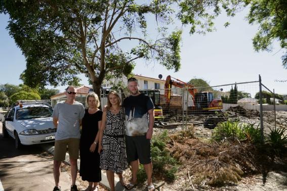 Residents of 224 Labouchere Road, David McInerney (left), Natalie McInerney, Joanna Piorkowska and Andrzej Jalowiecki.