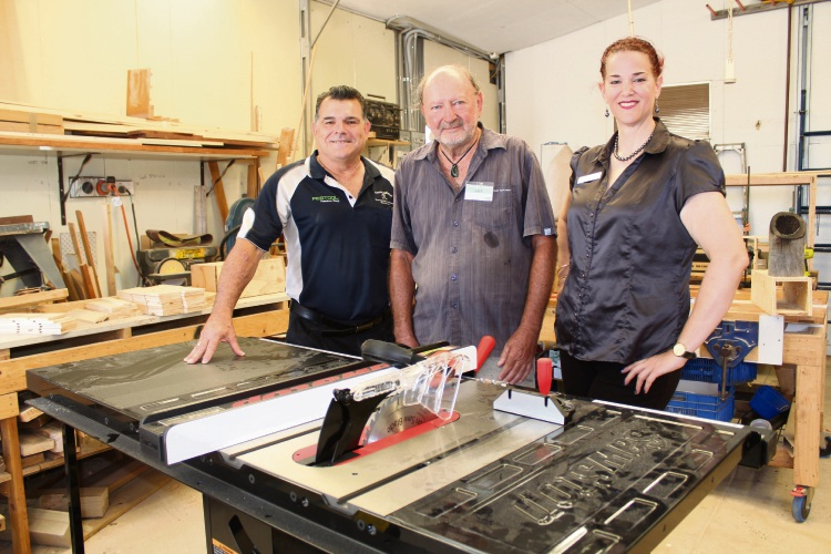Beyond Tools machinery team manager Steve Morris, Victoria Park Men's Shed management committee chairman Jack Beere and Department of Veterans' Affairs WA assistant director Fiona Watts.