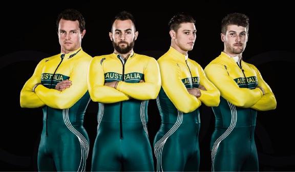 Australian Winter Olympics bobsled team members Lachlan Reidy, Lucas Mata, David Mari and Hayden Smith.