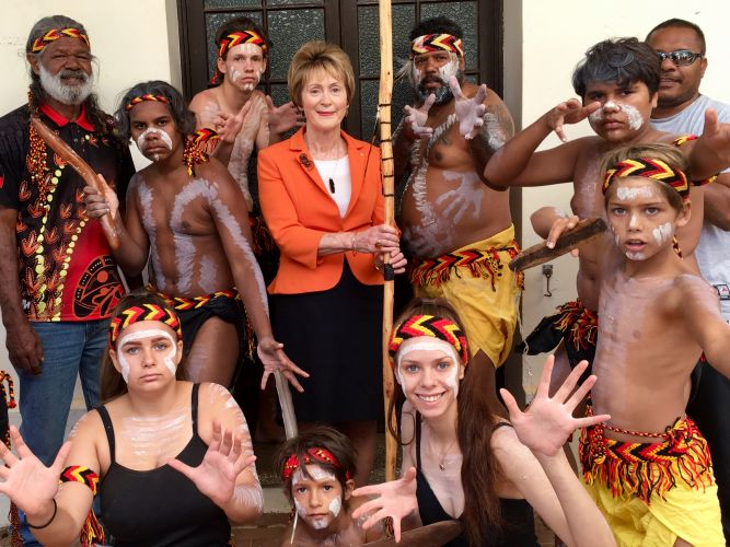 WA Governor Kerry Sanderson with the Binjareb Middar Dance Group at Fairbridge. Picture: Mia Lacy