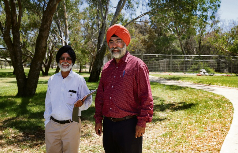 Amarjit Sing Pabla and Tarun Preet Singh from the Australian Sikh Heritage Association. Picture: Martin Kennealey www.communitypix.com.au d479489
