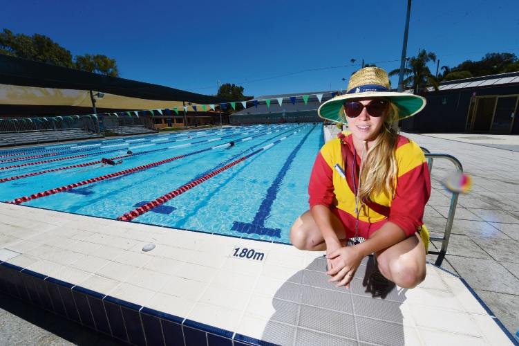 Fremantle Aquatic Centre lifeguard Chloe Brown. Picture: Jon Hewson d479641