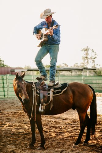 Tom Curtain performing atop Oakes Bailey in the Katherine Outback Experience. Picture: Edwina Robertson