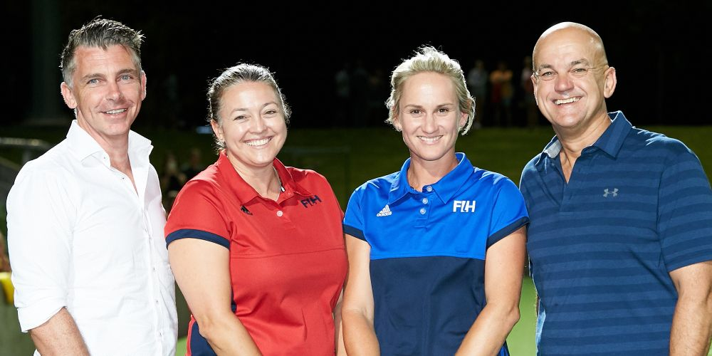Hockey WA's chief executive Stu Gilsenan, Tammy Standley, Shayley McGurk-Davy and Hockey WA president Garry Fitzpatrick.