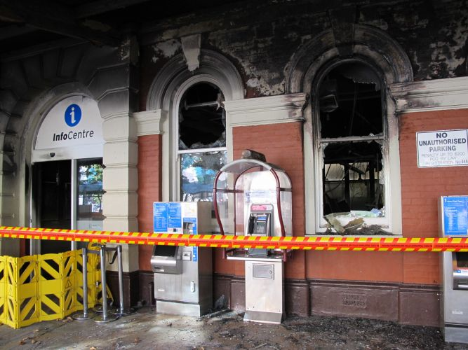The damage at the information centre at Perth Station. Picture: Matt Zis.