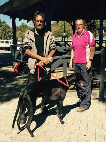 Janice Pace returns Timba to his owner Dave.