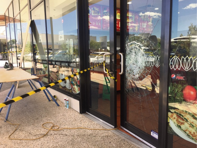 Damage at the kebab shop. Pictures: Martin Kennealey