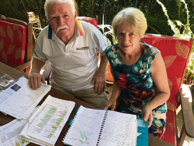 Leif Nissen and Barbara Becker, from Colourcraft Painting Service, are owed $60,000 by Colista Homes. Picture: Vanessa Schmitt.