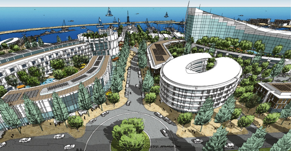 An artist impression of the proposed Ocean Reef Marina development.