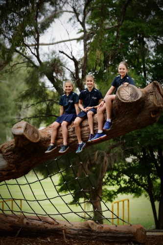 Year 6 students Tess Kirkaldy, left, Makisha Smith and Ethan Smith from Jolimont Primary School. The school has just opened its new nature playground. Picture: Andrew Ritchie.