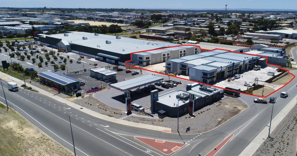 The subject site at Mullingar Way where two vacant warehouse units remain, with the new Bunnings set to be a drawcard for potential buyers.