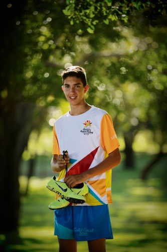 Athletics star Jacob Hristianopoulos (14) has been chosen to be part of the Queen's Baton Relay. Picture: Andrew Ritchie   d479259