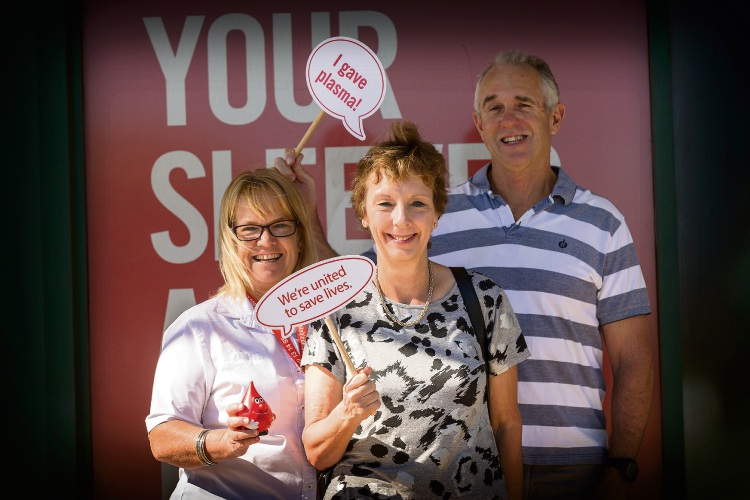Fremantle Donor Centre manager Kelly Simpson with Jill Littlewood and Bill Godwin. Picture: Will Russell.