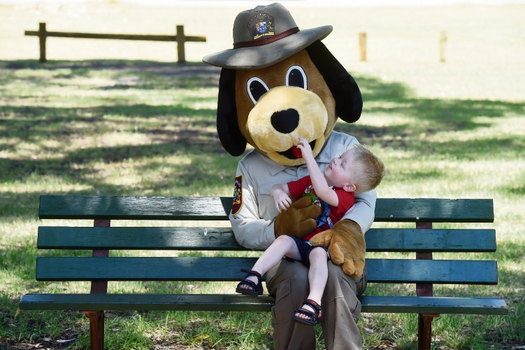 The City of Canning mascot with Axl Nordahl (2). Picture: Jon Hewson.