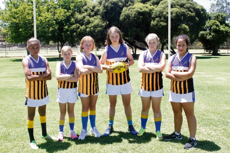 Victoria Park Raiders Junior Football Club players Taylah Humphries, Asha Filmer, Yana Shepherd, Amber Sinclair, Ellie McFarlane, Simpen Adnyana are gearing up to play footy.