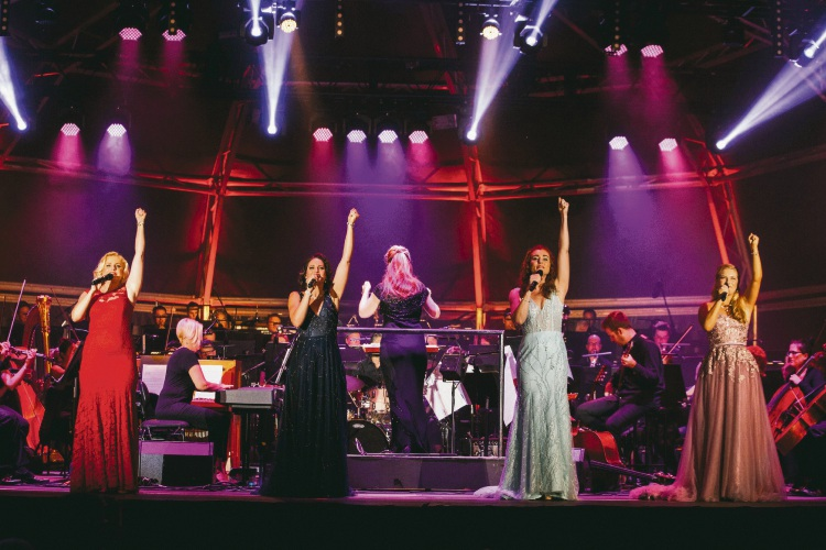 Helen Dallimore, Amanda Harrison, Jemma Rix and Lucy Durack during this year's Valentines Concert at Joondalup Resort. Picture: Adam Nalapraya