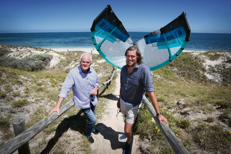 Cottesloe Mayor Philip Angers and beach path design committee member Cr Michael Tucak say everyone will benefit from replacing the path used by kitesurfers.  Picture: Andrew Ritchie.
