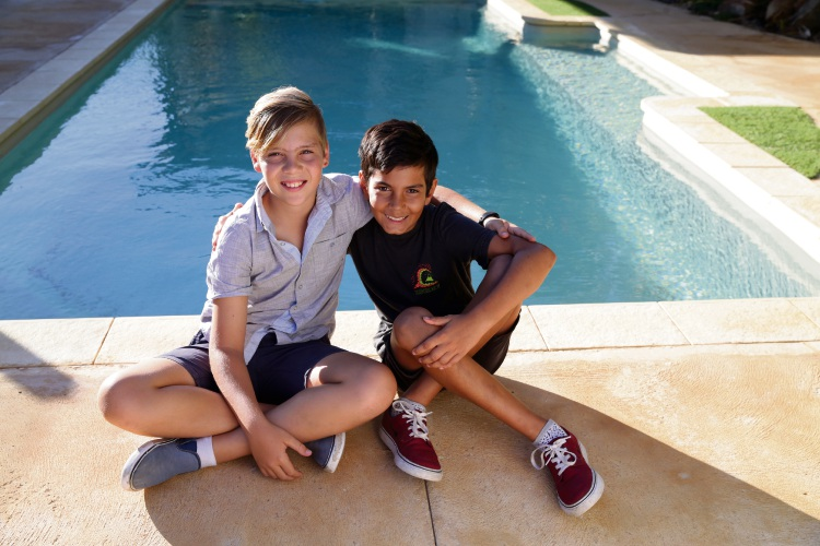Yanchep boy Harrison Jory (11) with his friend Noah Lekias (11). Harrison helped save Noah's life at a friend's party and today received a St John Ambulance Community Hero Award. Picture: Martin Kennealey.