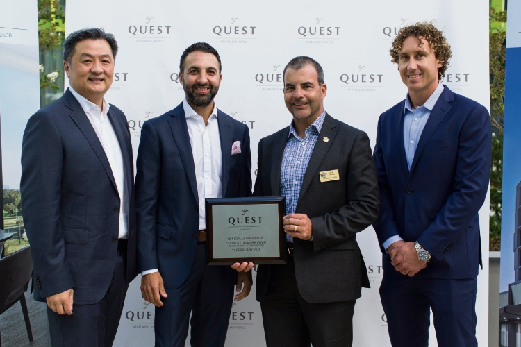 Quest Apartment Hotels operating manager Roger Law and chief executive Zed Sanjana, with Stirling Mayor Mark Irwin and Matt Priddis.