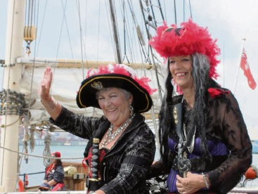 Red Hatters Eileen and Kate on the high seas. Pic: Highland Highness.