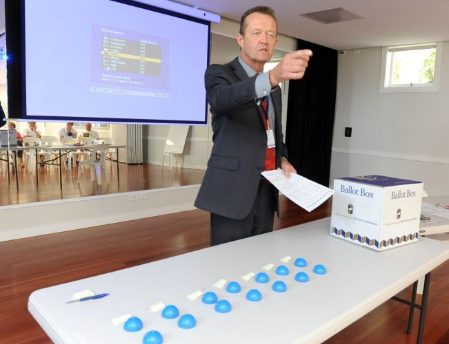 WAEC returning officer David Payne before the draw for ballot paper positions for the Cottesloe by-election this afternoon. Picture: Jon Bassett