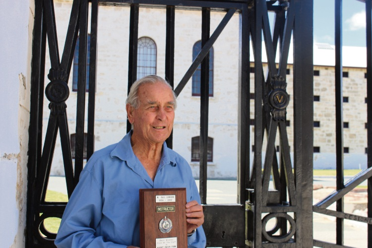 William 'Bill' Lehane with his plaque for 40 years of service. Picture: Leah Roberts