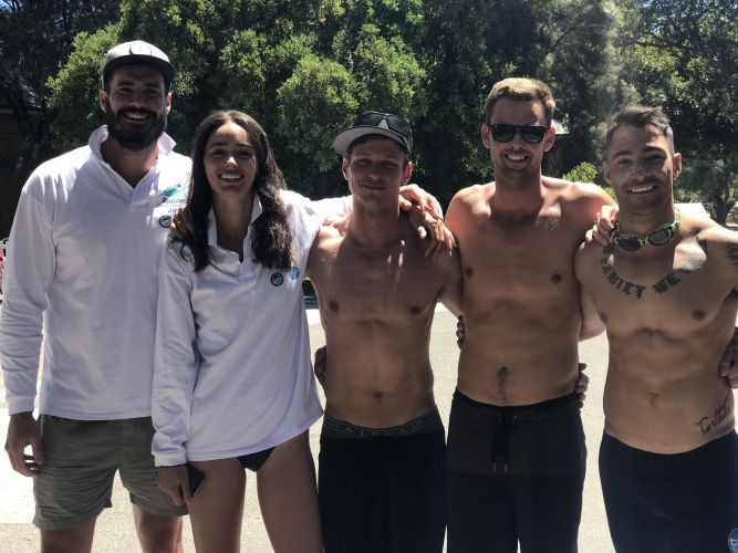 Locky Gilbert and Sarah Tilleke were part of a Channel 10 team who had to abandon the Rottnest Channel Swim because of a shark sighting. Credit Matt Jelonek