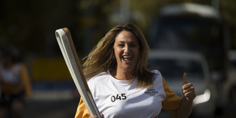 Batonbearer Helen Cordiano carrying the Baton as the Queen's Baton Relay visited Perth.