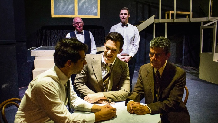 Death of a Salesman features Daniel Moxham Jason Wall, Sorrento resident Gino Cataldo (front), Patrick McLanaghan and Declan Waters (back). Picture: Daniel Ade
