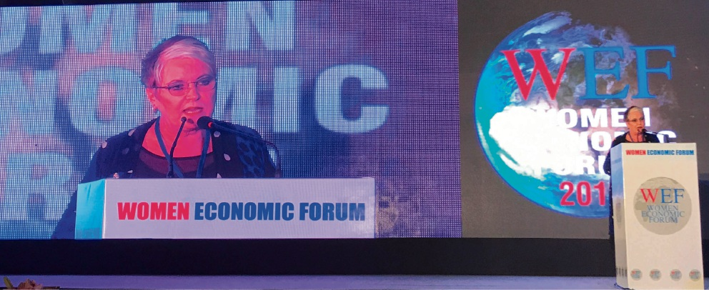 Belmont Business Enterprise Centre chief executive Carol Hanlon speaking at last year's Women Economic Forum in Delhi.