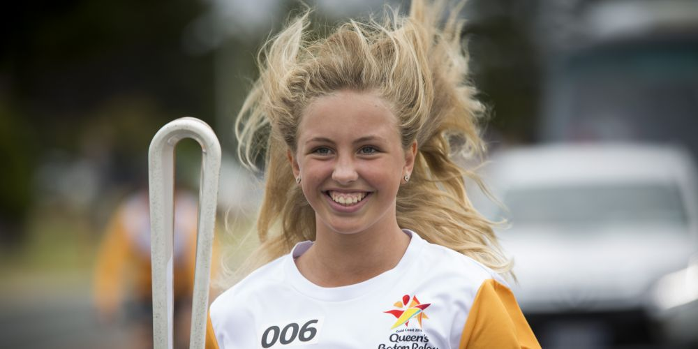 Batonbearer Sophie Weatherill carrying the Baton as the Queen's Baton Relay visited Quinns Rocks. Picture: Supplied