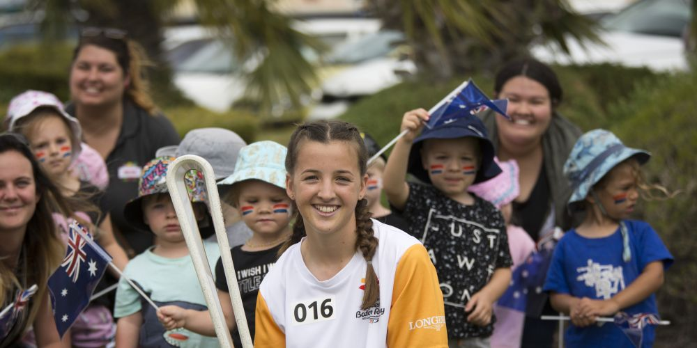 Baton bearer Jenna Broomhall carrying the baton. Picture: Supplied