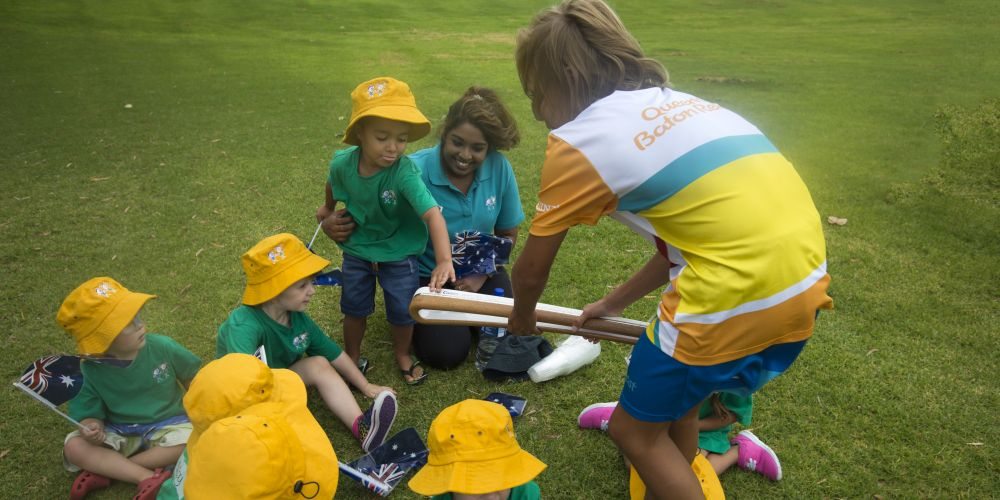 Baton bearer Jackson Anderson carrying the baton from Quinns Beach Primary School. Picture: Supplied