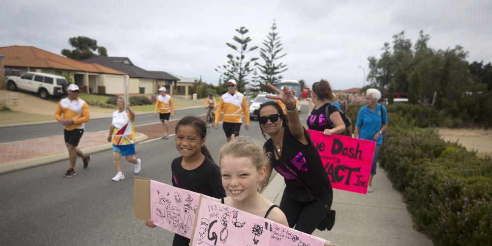 Supporters for baton bearer Sue Dash. Picture: Supplied