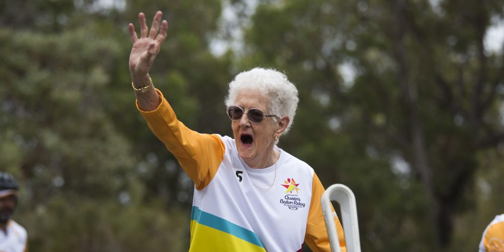 Baton bearer Margaret Cockman carrying the baton. Picture: Supplied