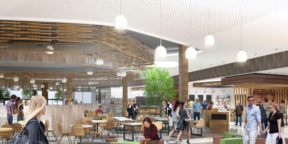 Artist impression of the new food court at Mandurah Forum.