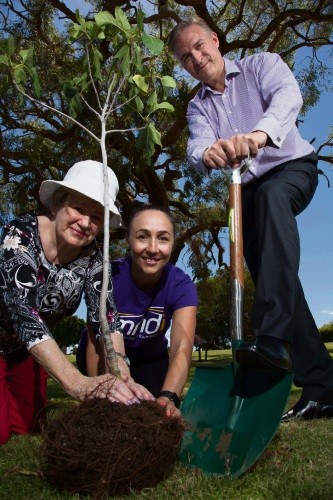 Local residents Gae Mackie and Assunta Meleca and Deputy Mayor Chris Cornish. Picture: Max Laurent