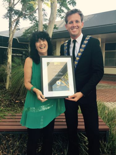 Mayor Rhys Williams and Carol Dhu with the inaugural Local Legend Award.