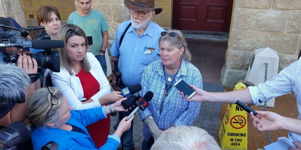 Lee Rimmer speaks to the media outside Stirling Gardens Magistrates Court this morning. Picture: Jon Bassett
