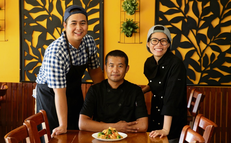 Wai Mg (chef), Teera Wongkanha (chef) and Usa Sonnark (manager). Picture: Martin Kennealey d479649