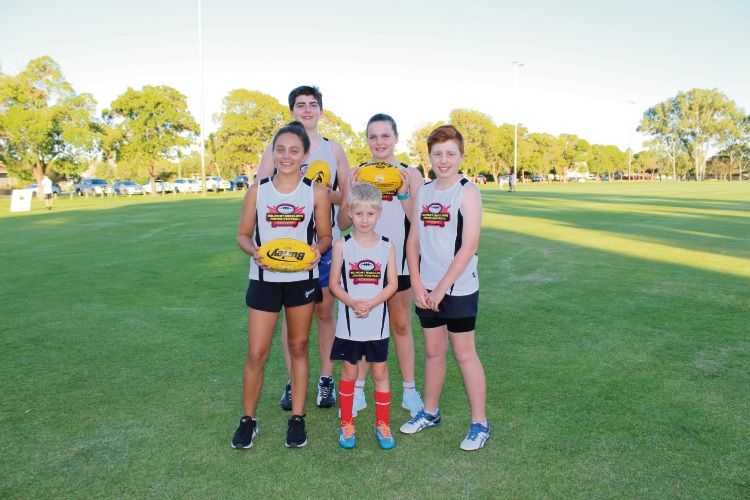 Belmont Redcliffe Junior Football Academy players Keegan Pescodi (14) and Grace Haddleton (11), in the back, Mikayala Lutter (14), Oliver Nixon (7) and Josh Webster (12), in the front, are enjoying the program.