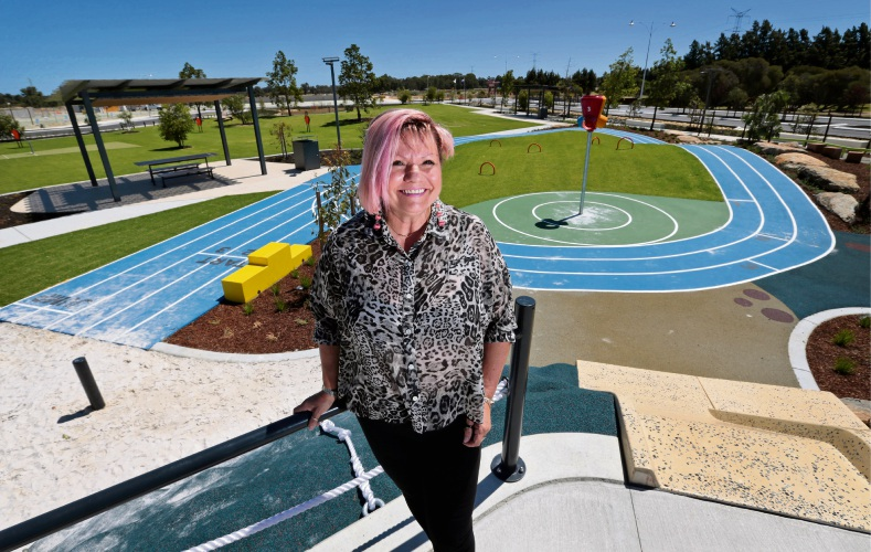 Mirvac Iluma sales consultant Fran Wallis in the new Pegasus Park. Pictures: David Baylis www.communitypix.com.au d479963