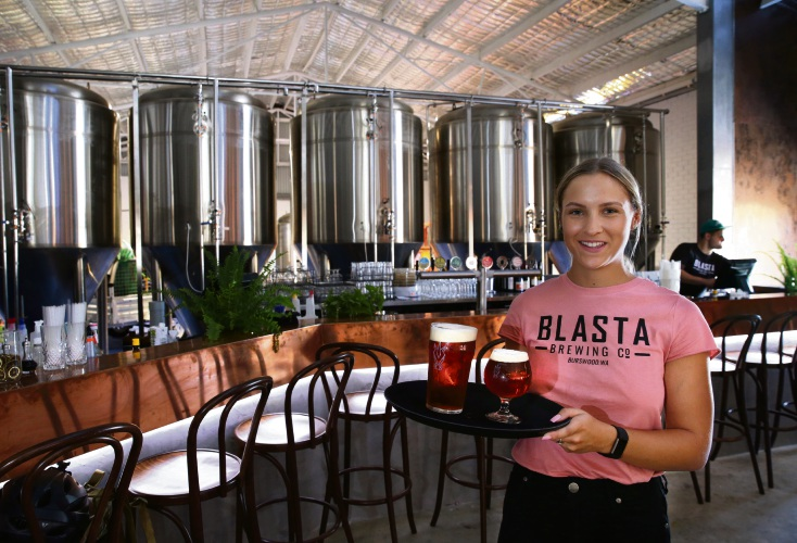Blasta Brewery Company Sophie Johnstone will some of the selection of beverages available at the microbrewery.
